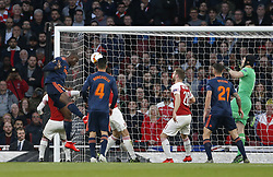 BRITAIN-LONDON-FOOTBALL-UEFA EUROPA LEAGUE-ARSENAL VS VALENCIA.(190502) -- LONDON, May 2, 2019  Valencia's Mouctar Diakhaby (L, Above) heads the first goal of the game during the UEFA Europa League semi-final first leg match between Arsenal and Valencia at The Emirates Stadium in London, Britain on May 2, 2019. Arsenal won 3-1.  FOR EDITORIAL USE ONLY. NOT FOR SALE FOR MARKETING OR ADVERTISING CAMPAIGNS. NO USE WITH UNAUTHORIZED AUDIO, VIDEO, DATA, FIXTURE LISTS, CLUB/LEAGUE LOGOS OR ''LIVE'' SERVICES. ONLINE IN-MATCH USE LIMITED TO 45 IMAGES, NO VIDEO EMULATION. NO USE IN BETTING, GAMES OR SINGLE CLUB/LEAGUE/PLAYER PUBLICATIONS. (Credit Image: © Matthew Impey/Xinhua via ZUMA Wire)
