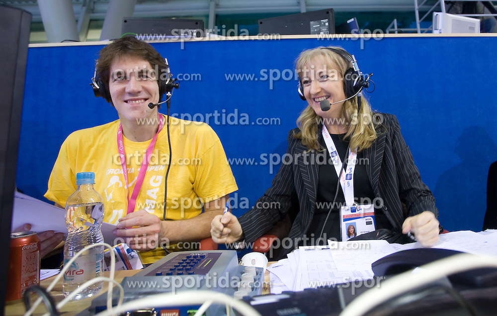 Blaz Medvesek and journalist Jolanda Bertole, working for TV Slovenija, at day 4 of LEN European Short Course Swimming Championships Rijeka 2008, on December 14, 2008,  in Kantrida pool, Rijeka, Croatia. (Photo by Vid Ponikvar / Sportida)