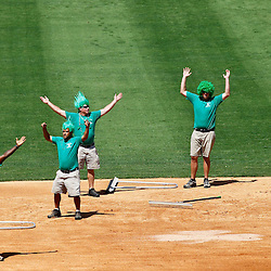 March 17, 2012; Lakeland, FL, USA; Detroit Tigers grounds keepers perform for the crowd during a spring training game against the St. Louis Cardinals at Joker Marchant Stadium. Both teams wore green jerseys and the field was marked with shamrocks for the St. Patrick's Day game. Mandatory Credit: Derick E. Hingle-US PRESSWIRE