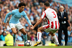 Leroy Sane of Manchester City takes on Erik Pieters of Stoke City- Mandatory by-line: Matt McNulty/JMP - 14/10/2017 - FOOTBALL - Etihad Stadium - Manchester, England - Manchester City v Stoke City - Premier League