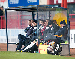 Motherwell's manager Ian Baraclough with the Motherwell bench. <br /> Dundee 4 v 1 Motherwell, SPFL Premiership played 10/1/2015 at Dundee's home ground Dens Park.