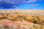 Colorful eroded hills and spires near Dillon Pass, Badlands National Park, South Dakota
