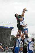 Twickenham. Great Britain, Quins, Nicolas SPANGHERO, collects the line out ball, during the, European Challenge Cup, match between, NEC Harlequins and Montpellier, on Sat., 28/10/2006, played at the Twickenham Stoop, England. Photo, Peter Spurrier/Intersport-images].....