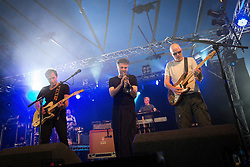 Image ©Licensed to i-Images Picture Agency . 20/07/2014 . Henham Park , Suffolk , United Kingdom . JAMES perform on the 6Music Stage . The band had been scheduled to perform on the main stage yesterday (19th July 2014) but were delayed .  The Latitude Festival of music and arts . Picture by Joel Goodman/i-Images