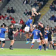 Manu Samoa's Piula Faasalele battles unsuccessfully for the ball during a lineout.  The New Zealand All Blacks defeated Manu Samoa 15's 83-0 at Eden Park, Auckland, New Zealand.  Photo by Barry Markowitz, 6/16/17
