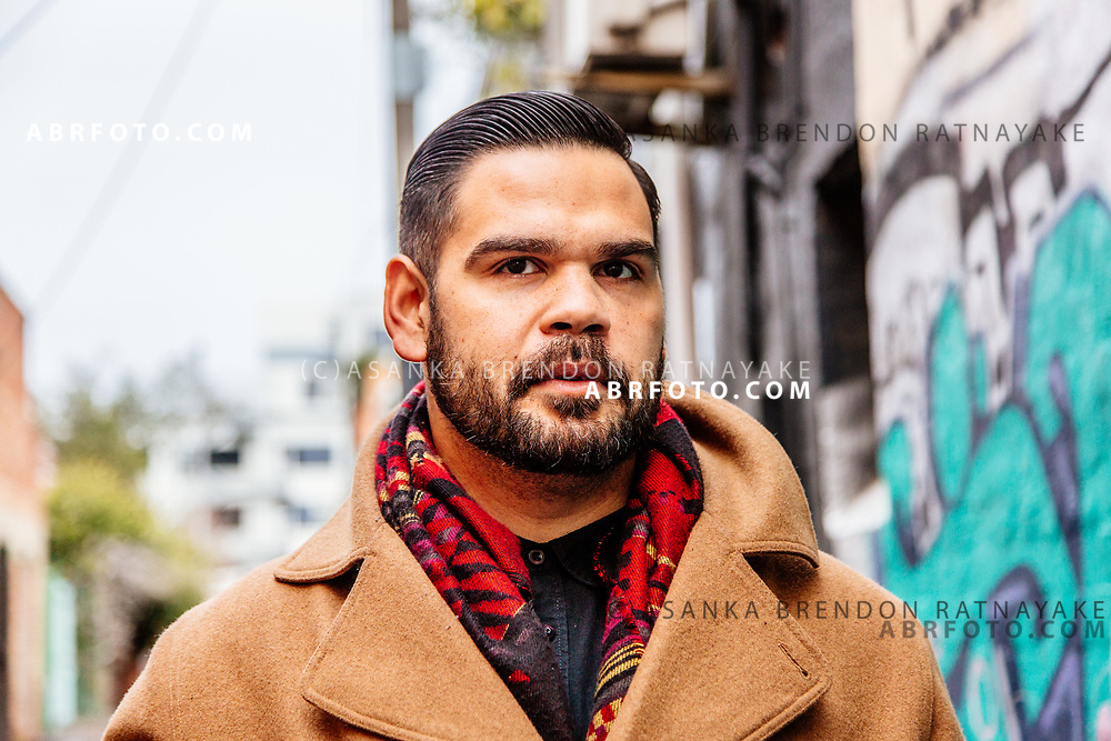 Aboriginal artist Robert Young on Gertrude Street Melbourne, Australia, August 30, 2017. <br /> Robert Young is a Gunnai Wiradjuri man, his family has a deep connection with Fitzroy and Gertrude Street. Asanka Brendon Ratnayake for the New York Times