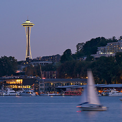 An evening view of the Seattle's space needle from Lake Union. Seattle, Washington