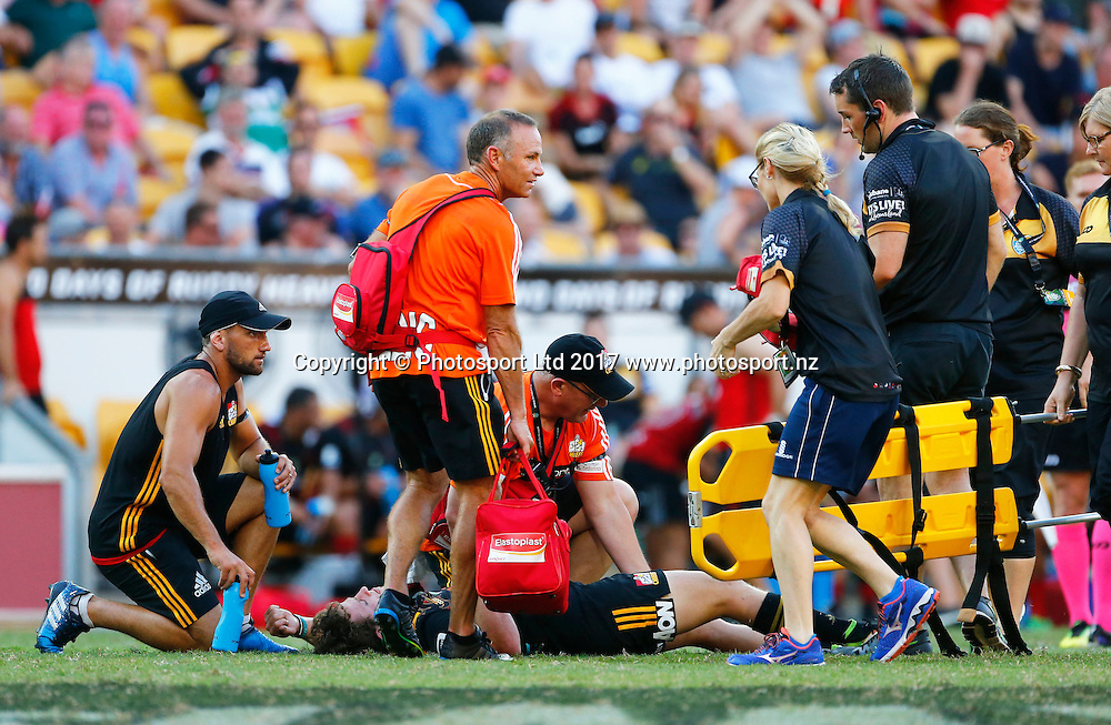 12 February 2017, Day 2 of the Brisbane Global Rugby Tens at Suncorp Stadium, Brisbane, Australia.<br /> Final - Crusaders v Chiefs . Brad Weber from the Chiefs sustains an injury<br /> Copyright photo: Jason O'Brien / www.photosport.nz