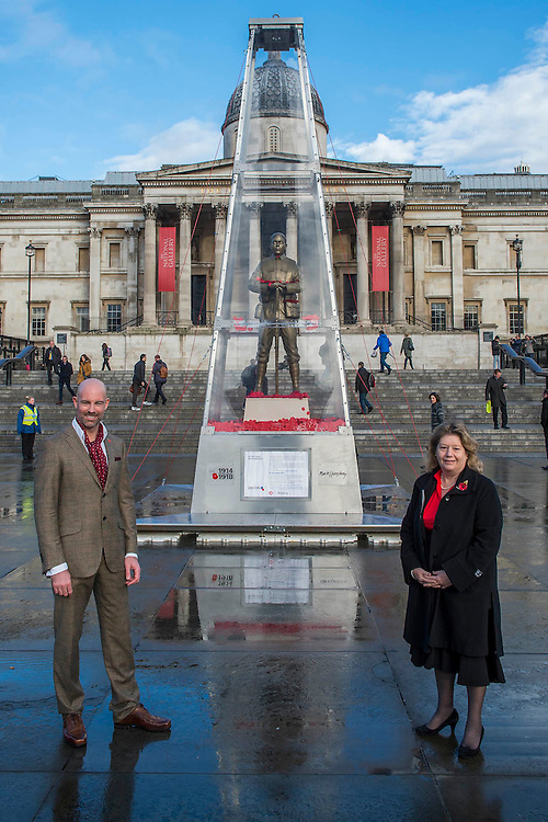The Every Man Remembered sculpture in Trafalgar Square unveiled by Royal British Legion beneficiary Serena Alexander and Mark Humphrey - Serena lost her son, Sam Alexander MC, in Afghanistan and received help through the Legion's Independent Inquest Advice Service. Her links to the First World War are extensive and she is helping to promote the Every Man Remembered website. Her own Great Uncle, Norman Birtwistle MC was awarded the Military Cross before being killed in action during one of the last cavalry charges in 1918. The sculpture is a collaborative piece with the artist Mark Humphrey - being 7.5-metre high it will sit in Trafalgar Square until 16 November. Made of brass, it is loosely based on the Unknown Solider and stands on a plinth of limestone sourced from the Somme. It is encased in a Perspex obelisk, surrounded by poppies which float up around the figure every five minutes.  The sculpture will carry out a four-year tour of Great Britain, visiting a number of different locations across the country where members of the public will be invited to remember all those who fell during the First World War.