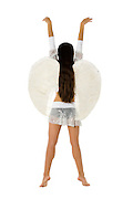 back view of an innocent angel On white Background