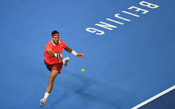 BEIJING, Oct. 7, 2018  Juan Martin del Potro of Argentina competes during the men's final against Nikoloz Basilashvili of Georgia at the China Open tennis tournament in Beijing, capital of China on Oct. 7, 2018. (Credit Image: © Xinhua via ZUMA Wire)