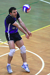 Tomaz Paravan of Salonit at last final volleyball match of 1.DOL Radenska Classic between OK ACH Volley and Salonit Anhovo, on April 21, 2009, in Arena SGS Radovljica, Slovenia. ACH Volley won the match 3:0 and became Slovenian Champion. (Photo by Vid Ponikvar / Sportida)