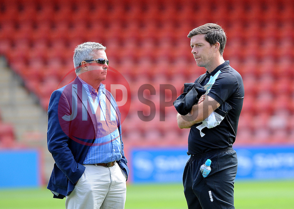 Bristol Rovers chairman Nick Higgs with Bristol Rovers manager, Darrell Clarke  - Mandatory by-line: Neil Brookman/JMP - 25/07/2015 - SPORT - FOOTBALL - Cheltenham Town,England - Whaddon Road - Cheltenham Town v Bristol Rovers - Pre-Season Friendly