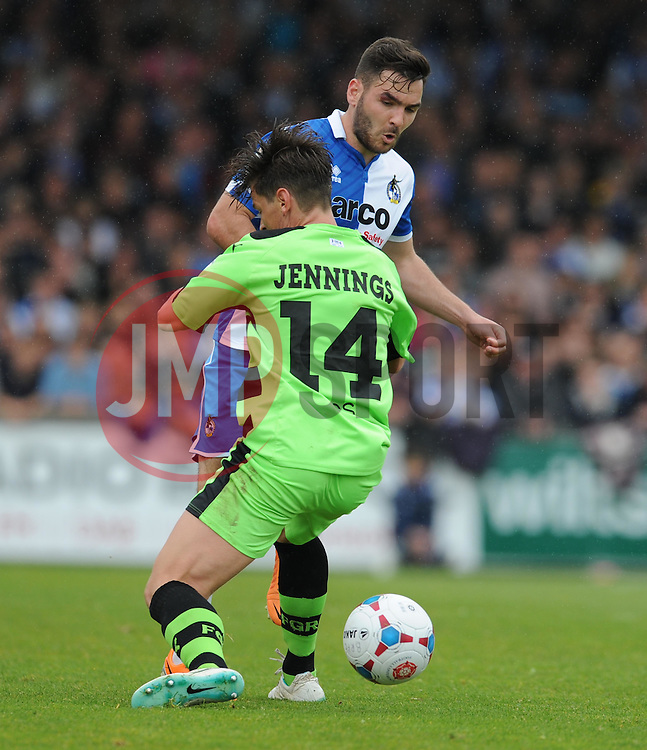 Bristol Rovers' Jake Gosling tackles Forest Green Rovers's James Jennings - Photo mandatory by-line: Alex James/JMP - Mobile: 07966 386802 - 03/05/2015 - SPORT - Football - Bristol - Memorial Stadium - Bristol Rovers v Forest Green Rovers - Vanarama Football Conference