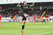 Forest Green Rovers Christian Doidge(9) scores a goal 1-1 and celebrates during the EFL Sky Bet League 2 match between Crawley Town and Forest Green Rovers at The People's Pension Stadium, Crawley, England on 6 April 2019.