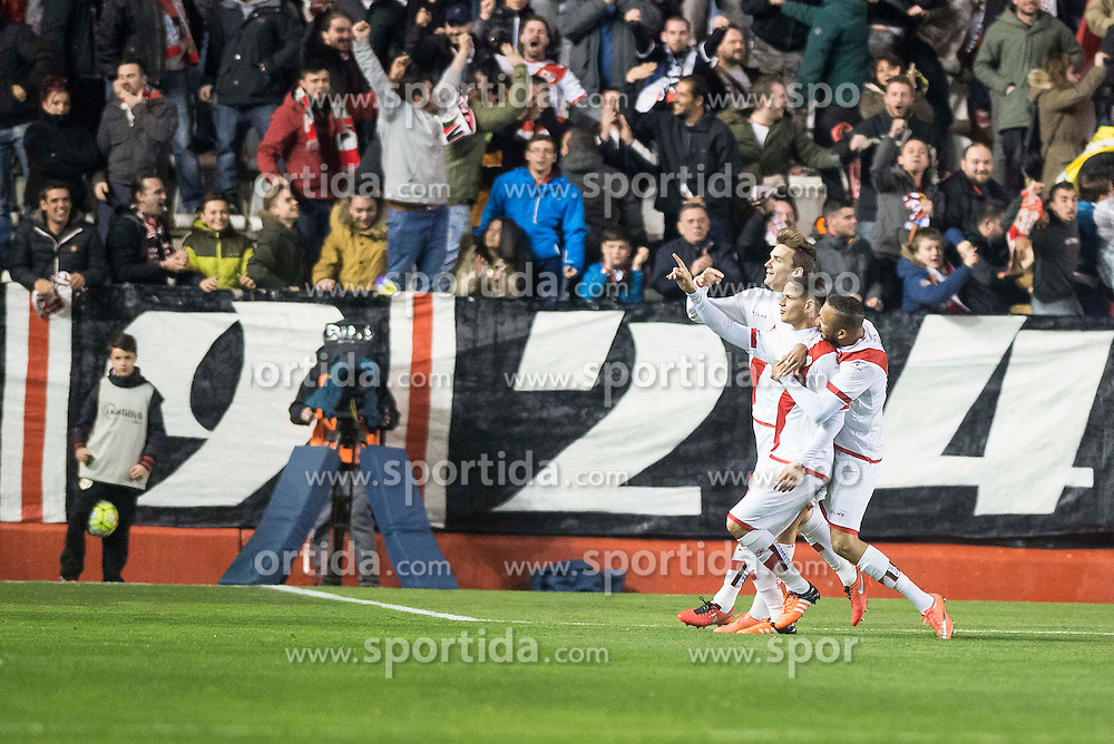 12.03.2016, Estadio de Vallecas, Madrid, ESP, Primera Division, Rayo Vallecano vs SD Eibar, 29. Runde, im Bild Rayo Vallecano's Ze Castro celebrate a goal // during the Spanish Primera Division 29th round match between Rayo Vallecano and SD Eibar at the Estadio de Vallecas in Madrid, Spain on 2016/03/12. EXPA Pictures &copy; 2016, PhotoCredit: EXPA/ Alterphotos/ Borja B.Hojas<br /> <br /> *****ATTENTION - OUT of ESP, SUI*****