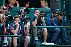 LONDON, ENGLAND - Thursday, July 3, 2014: Photographers during the Ladies' Singles Semi-Final match on day ten of the Wimbledon Lawn Tennis Championships at the All England Lawn Tennis and Croquet Club. (Pic by David Rawcliffe/Propaganda)