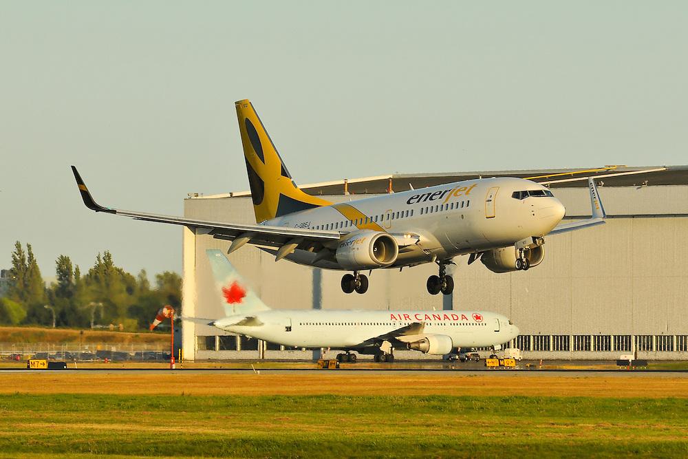 Enerjet Boeing 737 sunset landing in Vancouver