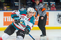 KELOWNA, CANADA - DECEMBER 27: James Hilsendager #2 of the Kelowna Rockets passes the puck against the Kamloops Blazers on December 27, 2017 at Prospera Place in Kelowna, British Columbia, Canada.  (Photo by Marissa Baecker/Shoot the Breeze)  *** Local Caption ***