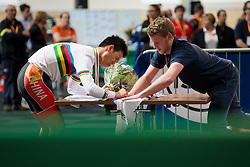 , CHN, Podium 1km TT, 2015 UCI Para-Cycling Track World Championships, Apeldoorn, Netherlands