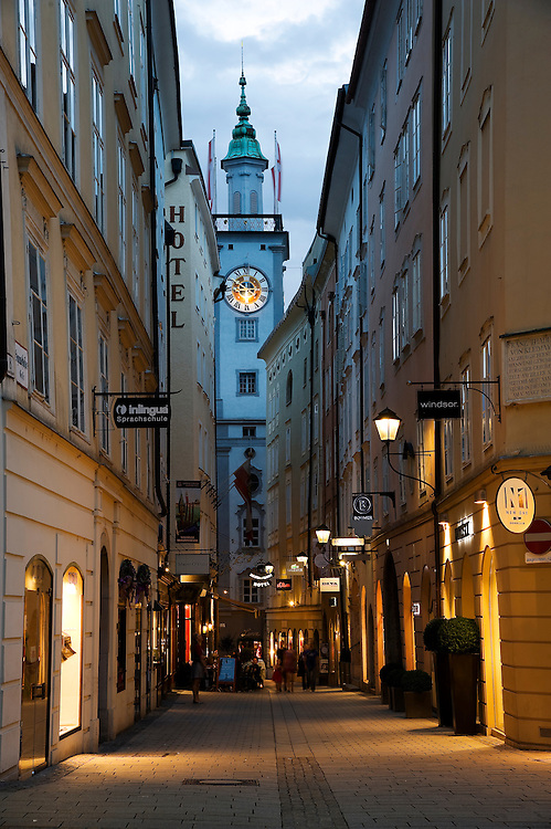 Salzburg's Altes Rathaus (Old Town Hall), built in 1407, rises at the end of Sigmund-Haffner-Gasse, just off the Alter Markt (old marketplace). The tower clock, with its novel moon dial, is the oldest in Salzburg.