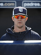 PEORIA, AZ - FEBRUARY 24:  Pitcher Thad Weber #87 of the San Diego Padres sits in the dugout prior to the spring training game against the Seattle Mariners at Peoria Sports Complex on February 24, 2013 in Peoria, Arizona.  (Photo by Jennifer Stewart/Getty Images) *** Local Caption *** Thad Weber
