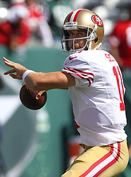 Sept 30, 2012; East Rutherford, NJ, USA; San Francisco 49ers quarterback Alex Smith (11) throws a pass before the game between the New York Jets and the San Francisco 49ers at MetLIfe Stadium.