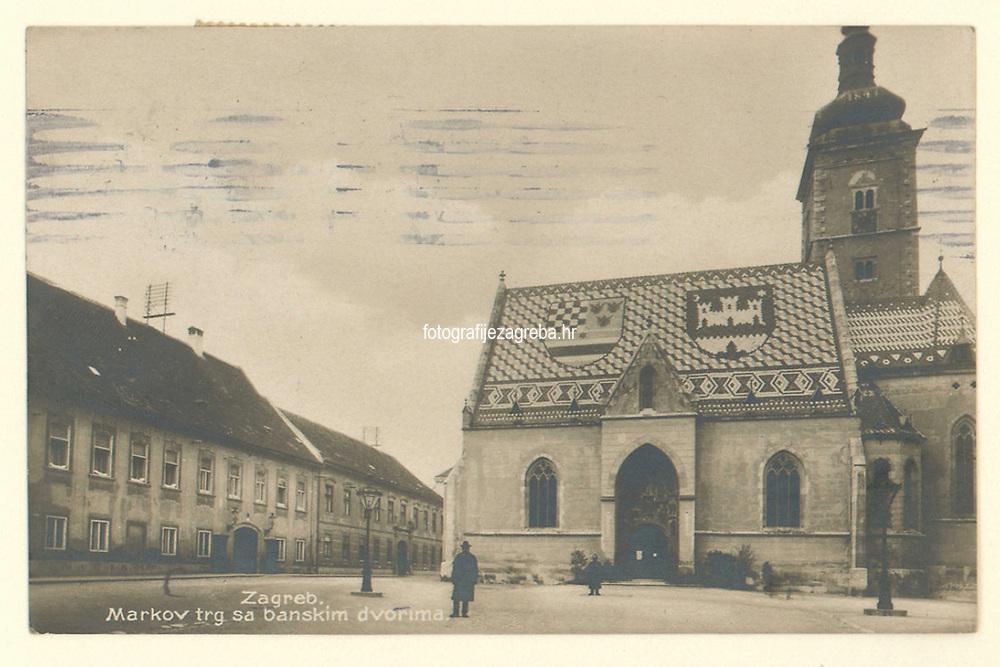 Zagreb : Markov trg sa banskim dvorima. <br /> <br /> ImpresumZagreb : Rudolf Polaček, 193?.<br /> Materijalni opis1 razglednica : tisak ; 8.9 x 13.9 cm.<br /> NakladnikRudolf Polaček<br /> Mjesto izdavanjaZagreb<br /> Vrstavizualna građa • razglednice<br /> ZbirkaZbirka razglednica • Grafička zbirka NSK<br /> ProjektPozdrav iz Hrvatske • Pozdrav iz Zagreba<br /> Formatimage/jpeg<br /> PredmetZagreb –– Trg Svetog Marka<br /> Crkva svetog Marka (Zagreb)<br /> Jezikhrvatski<br /> SignaturaRZG-MARK-11<br /> Obuhvat(vremenski)20. stoljeće<br /> NapomenaRazglednica je putovala 1932. godine<br /> PravaJavno dobro<br /> Identifikatori000973687<br /> NBN.HRNBN: urn:nbn:hr:238:296163 <br /> <br /> Izvor: Digitalne zbirke Nacionalne i sveučilišne knjižnice u Zagrebu