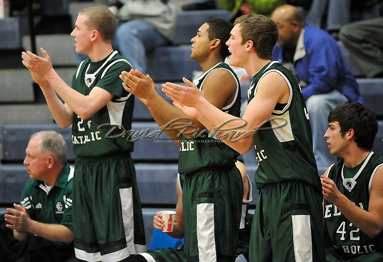 Elyria Catholic vs Oberlin boys varsity basketball on February 27, 2012.