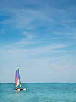 sailing boat on the sea whith a blue sky and calm sea