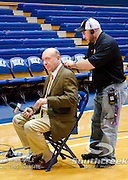 ESPN's Dick Vitale get set for pre game show from Cameron Indoor Stadium at DUKE.