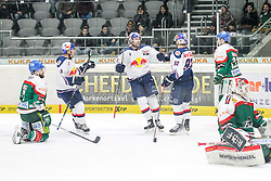 20.02.2015, Curt-Frenzel-Stadion, Augsburg, GER, DEL, Augsburger Panther vs EHC Red Bull München, 49. Runde, im Bild l-r: Torjubel von Tim Bender #55 (EHC Red Bull Muenchen), Daryl Boyle #6 (EHC Red Bull Muenchen), Alexander Barta #92 (EHC Red Bull Muenchen) Brady Lamb #2 (Augsburger Panther) am Boden // during Germans DEL Icehockey League 49th round match between Adler Mannheim and Grizzly Adams Wolfsburg at the Curt-Frenzel-Stadion in Augsburg, Germany on 2015/02/20. EXPA Pictures © 2015, PhotoCredit: EXPA/ Eibner-Pressefoto/ Kolbert<br /> <br /> *****ATTENTION - OUT of GER*****
