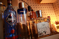 Cocktails at Le Syndicat, a new cocktail bar that serves drinks using only French products<br /> <br /> Paris 10th arrondissement<br /> <br /> The display of only French products used in the drinks - here, French Vodkas<br /> <br /> April 23, 2015<br />   <br /> Photograph by Owen Franken for the NY Times
