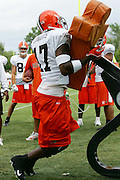 BEREA, OH - AUGUST 3:  Wide receiver Braylon Edwards #17 of the Cleveland Browns goes works out on a blocking sled during training camp at the Cleveland Browns Training and Administrative Complex on August 3, 2006 in Berea, Ohio. ©Paul Anthony Spinelli *** Local Caption *** Braylon Edwards