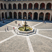 Elevated view of courtyard and fountain at Palacio Nacional in Mexico City