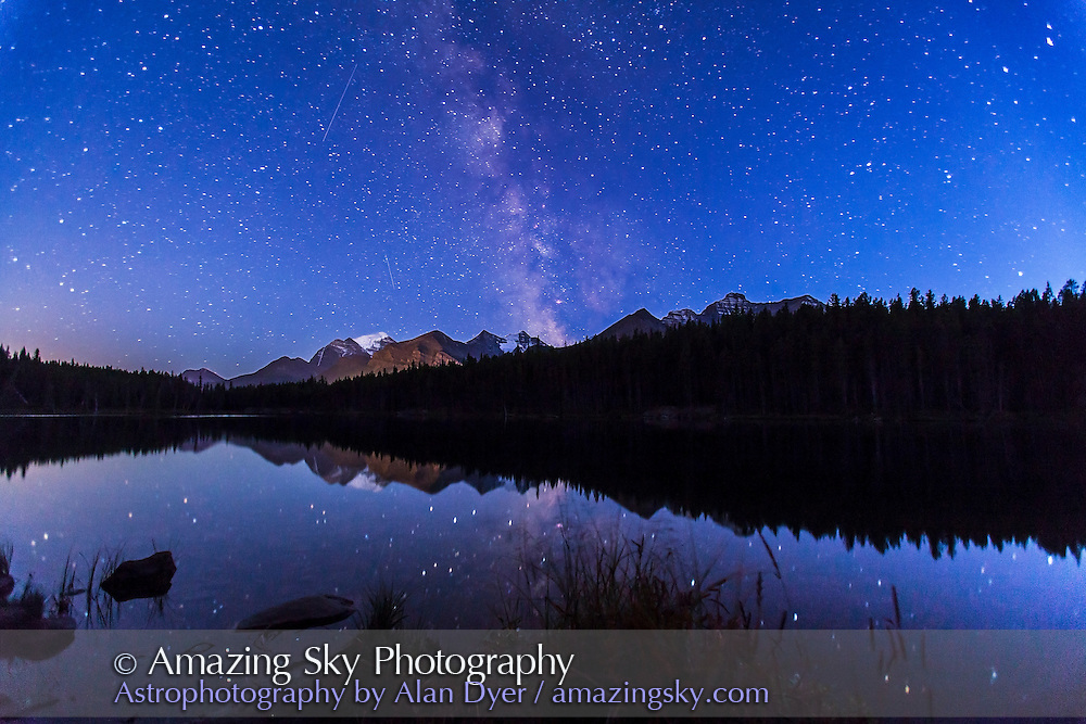 The Milky Way over Herbert Lake, Banff, Alberta, near Lake Louise. Mount Temple is glacier-clad peak at left. A single exposure of 40 seconds at f/2.8 with 16-35mm lens and Canon 5D MkII at ISO 1600. No Moon, and taken in late twilight.