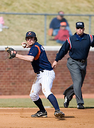 Virginia Cavaliers infielder Patrick Wingfield (8) makes a play at third base.  The Virginia Cavaliers Baseball Team defeated the Delaware Blue Hens 3-2 to complete the sweep of a three game series at Davenport Field in Charlottesville, VA on March 4, 2007.