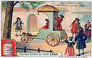 History of the Automobile: Pedal-driven carriage, 1690. The passenger sat in front guiding the vehicle with ropes on front wheels while the servant stood at back working the pedal mechanism.  Liebig Trade Card c1910.  Transport Car