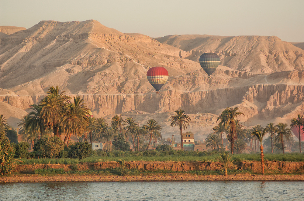 Hot Air Balloons over Nile River, Luxor, Egypt