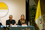 Roma 24 Aprile 2014<br /> Conferenza stampa di Floribeth Mora Diaz del Costa Rica, colpita da aneurisma cerebrale irreversibile nell'Aprile del 2011, e miracolata da Papa Giovanni Paolo II con Padre Federico Lombardi<br /> Rome 24 April 2014<br /> John Paul II, the Polish pope who died in 2005, will be canonised on April 27th. A miracle came after Floribeth Mora Diaz, a woman from Costa Rica, was cured from a brain aneurysm on May 1, 2011, the same day the late pope was beatified with Padre Federico Lombardi