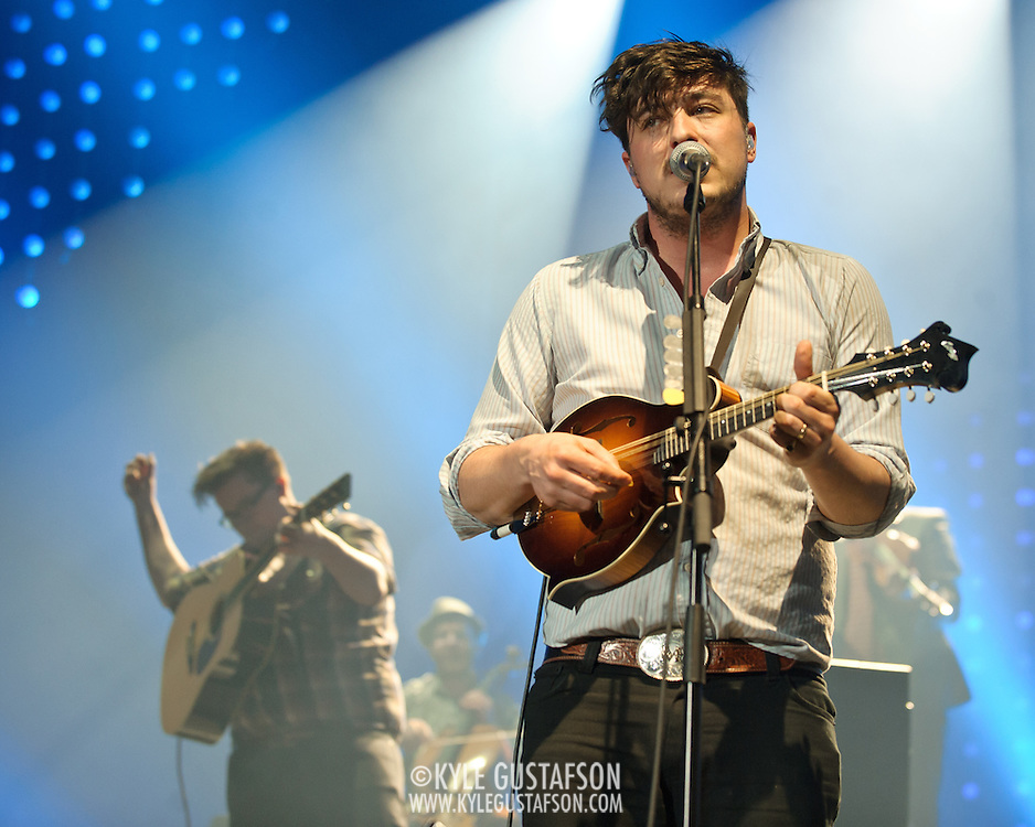 FAIRFAX, VA - February 13th,  2013 - Marcus Mumford (right) of British folk outfit Mumford & Sons performs at the Patriot Center in Fairfax, VA.  The band's sophomore album, Babel, debuted at number one on both the UK and US album charts and recently won the 2013 Grammy for Album of the Year. (Photo by Kyle Gustafson/For The Washington Post)