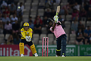 Dwayne Bravo of Middlesex batting during the Vitality T20 Blast South Group match between Hampshire County Cricket Club and Middlesex County Cricket Club at the Ageas Bowl, Southampton, United Kingdom on 20 July 2018. Picture by Dave Vokes.