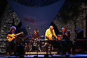 Cimiez-Nice, France. July 25th 2008..Gary Burton Quartet Revisited at the Nice Jazz Festival..From left to right: Pat Metheny (guitar), Antonio Sanchez (drums), Gary Burton (vibraphone), Steve Swallow (bass)...