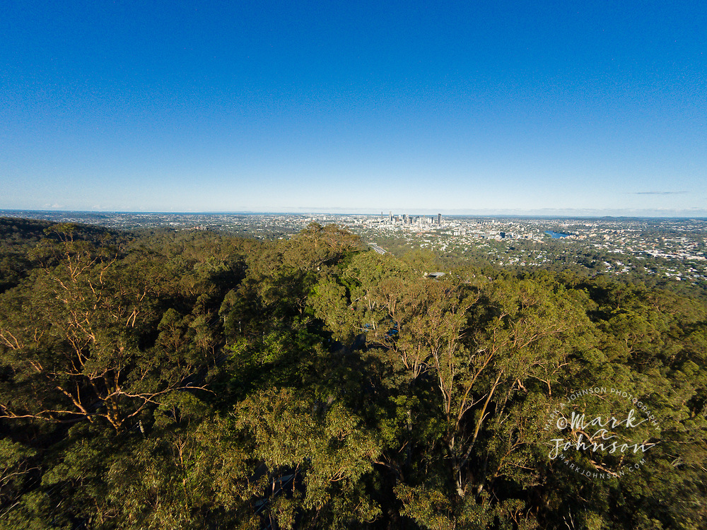 Aerial photograph of the Brisbane City viewpoint at Mt Cootha, Brisbane, Queensland, Australia