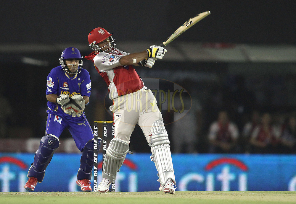 Azhar Mahmood of the Kings XI Punjab pulls a delivery to the boundary during match 48 of the the Indian Premier League (IPL) 2012  between The Kings X1 Punjab and The Rajasthan Royals held at the Punjab Cricket Association Stadium, Mohali on the 5th May 2012..Photo by Shaun Roy/IPL/SPORTZPICS
