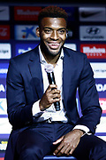 Atletico Madrid's new French midfielder Thomas Lemar delivers a speech during his official presentation at the Wanda Metropolitano Stadium in Madrid on July 30, 2018. - Photo Benjamin Cremel / ProSportsImages / DPPI