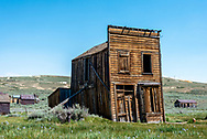 Swazey Hotel, a leaning old wooden building at Bodie State Historic Park and ghost town.