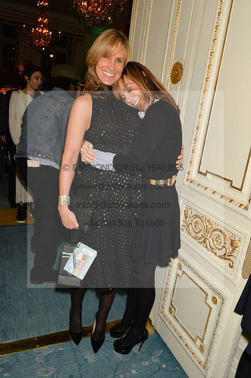 Left to right, sisters SANTA SEBAG-MONTEFIORE and TARA PALMER-TOMKINSON at a party to celebrate the publication of The Romanovs 1613-1918 by Simon Sebag-Montefiore held at The Mandarin Oriental, 66 Knightsbridge, London on 2nd February 2016.