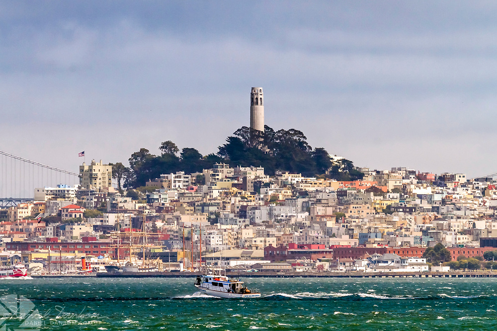View of the San Francisco skyline, with Coit Tower and marina area