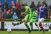 Forest Green Rovers Christian Doidge(9) shoots at goal hits the post during the EFL Sky Bet League 2 match between Forest Green Rovers and Exeter City at the New Lawn, Forest Green, United Kingdom on 9 September 2017. Photo by Shane Healey.